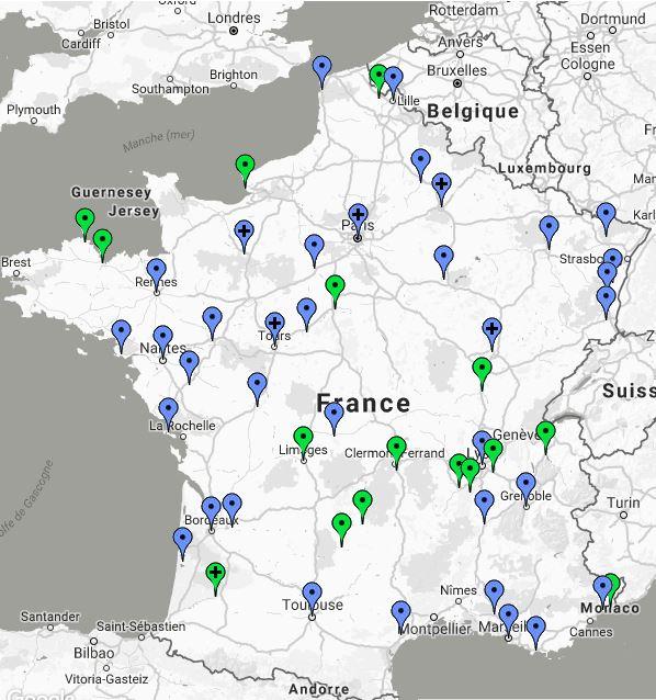 """Répartition des villes à """"greeters"""" en France"""