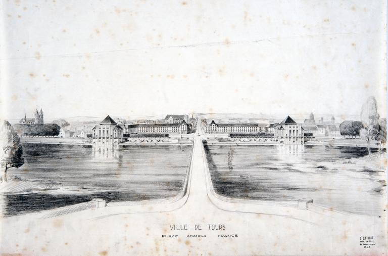 Entrée de ville monumentale - Projet d'entrée nord en perspective, P. Patout arch., 1948. (archives municipales de Tours, 149 W 22, S 770).